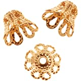 TOOGOO(R) 100-Piece Gold Plated Filigree Flower Cup Shaped Bead Caps(7mm)