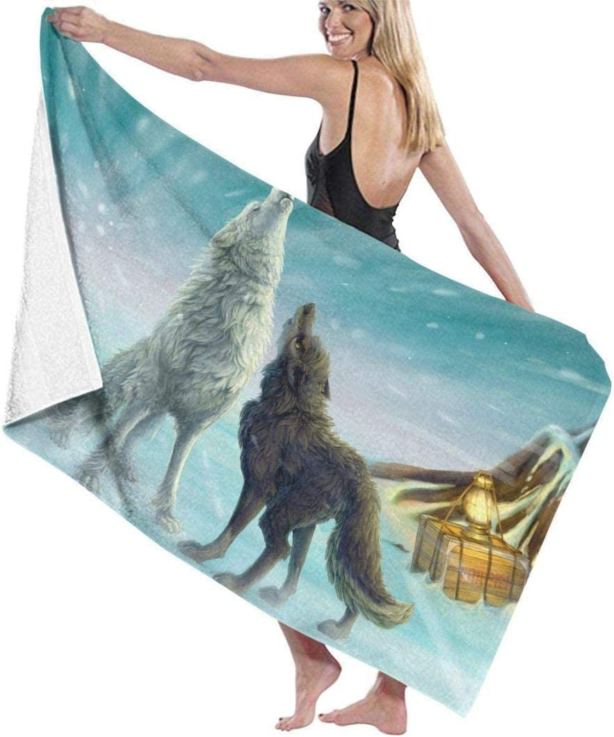 AGCXDToalla de baño con Motivo de Lobo de Dibujos Animados 79 x 130 cm de Alta absorción Ligeramente Grande Toalla de baño Playa en casa SPA Piscina Gimnasio Viajes