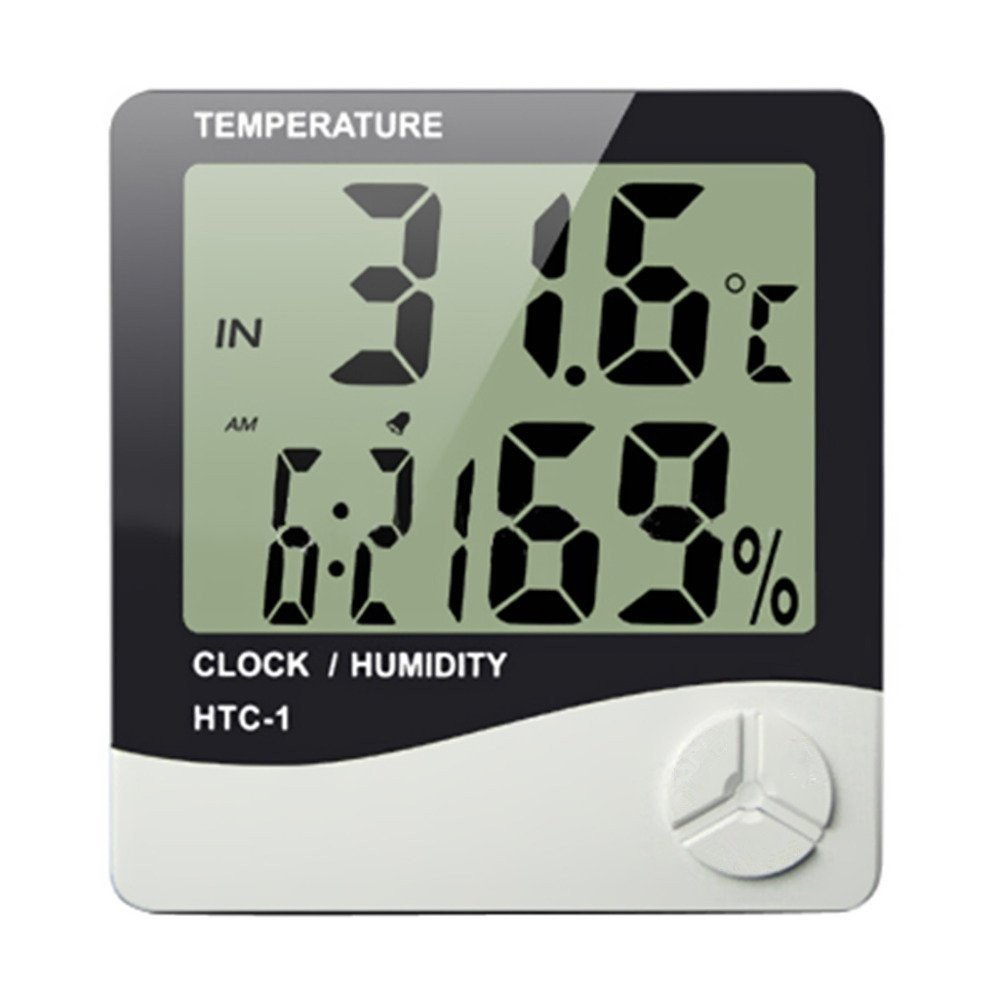 Indoor Digital Humidity Meter Hygrometer Thermometer with Large LCD Display Temperature Alarm Clock (HTC-1)