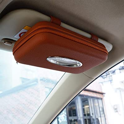 Cartisen Car Tissue Holder, Sun Visor Napkin Holder, Car Visor Tissue Holder, PU Leather Backseat Tissue Case Holder for Car,Vehicle (Brown): Automotive