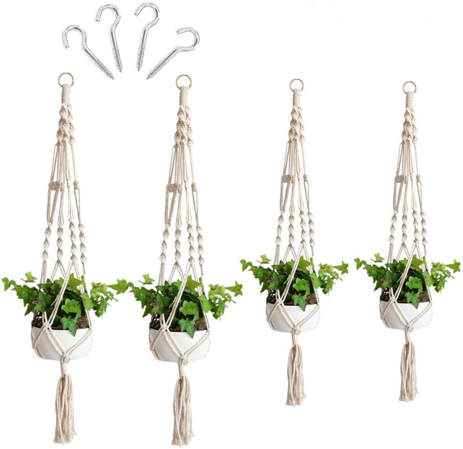4Pcs Macrame Plant Hangers for Indoor Outdoor, with 4 Cup Hooks Handcraft Hanging Planter Basket Cotton Rope 2 Size 41.5 and 33.5