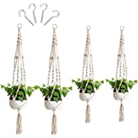 4Pcs Macrame Plant Hangers for Indoor Outdoor, with 4 Cup Hooks Handcraft Hanging Planter Basket Cotton Rope 2 Size (41…