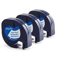 Compatible Dymo LetraTag Ruban Cassette 91201/S0721610 pour LT-100H LT-100T LT-110T QX 50 XR XM 2000 Plus, 12mm (0.47 Inch) x 4m (13.12feet), Plastique Noir sur blanc, 3 Pack