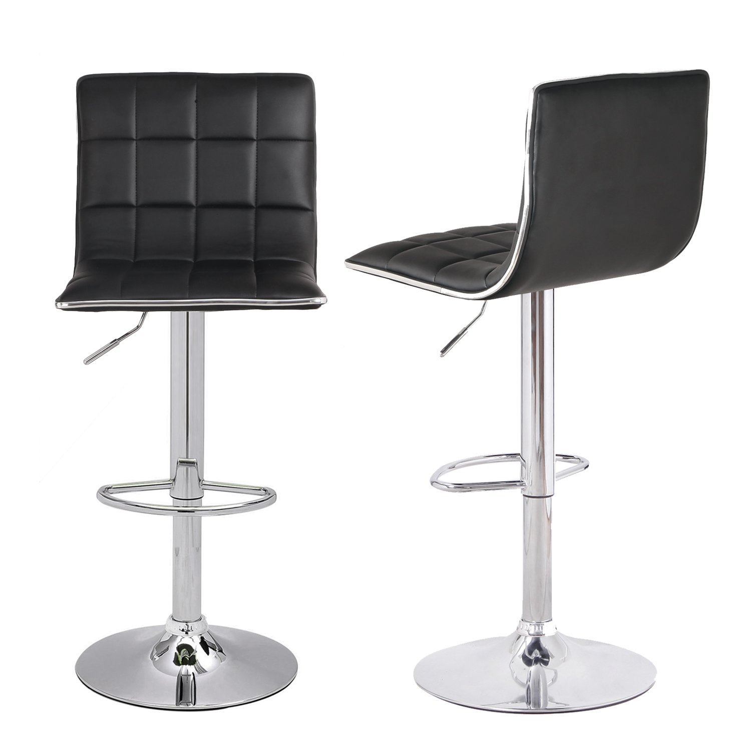 Asense Leather Hydraulic Adjustable Barstool Chair with Footrest & Chrome Metal Base (Set of 2) (Black)