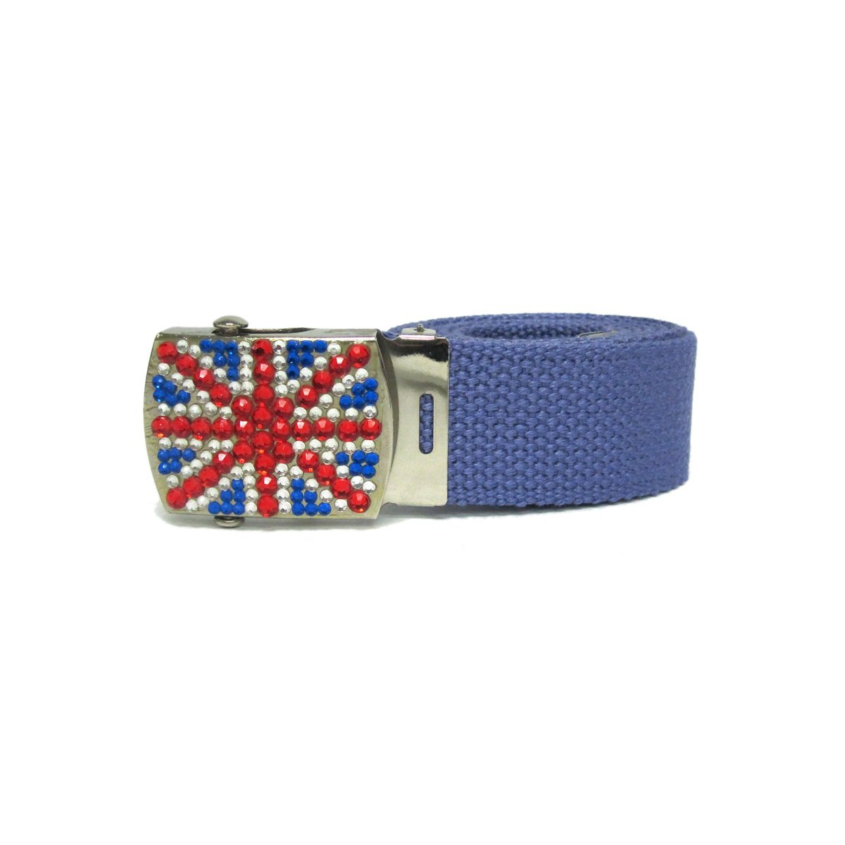 1 Women's Fashion Silver Military Rhinestoned Buckle with Union Jack Design ...