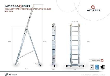 ALTIPESA - Escaleras alum. 3 tramos 09 peld.: Amazon.es: Bricolaje y herramientas