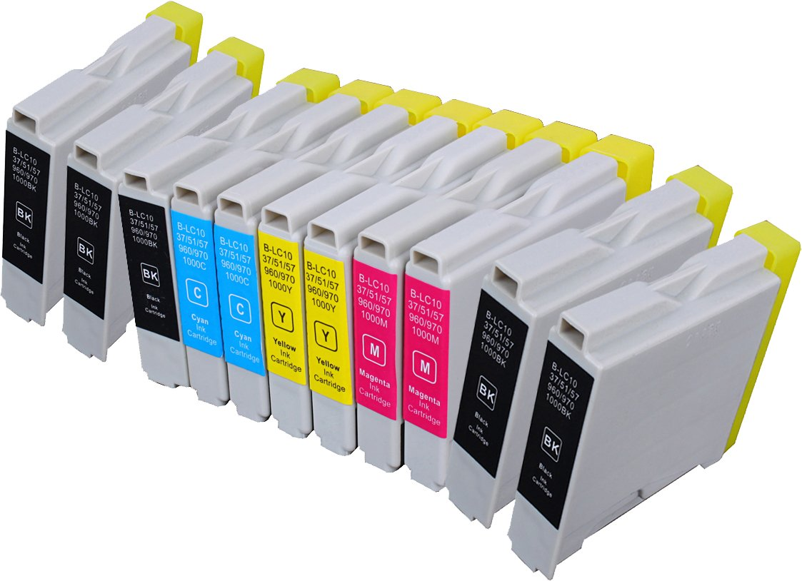 11 Pack Compatible Brother LC-51 5 Black, 2 Cyan, 2 Magenta, 2 Yellow for use with Brother DCP-130-C, DCP-350-C, DCP-540-CN, Fax-1355, Fax-1360, Intellifax 1360, Intellifax 2480C, MFC-240-C, MFC-260-C, MFC-3360-C, MFC-440-CN, MFC-465-CN, MFC-5460-CN, MFC-5