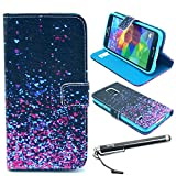 S5 Case, Galaxy S5 Case, Speedtek Nebula Pattern Premium PU Leather Wallet Flip Protective Skin Case with Magnetic Closure for Samsung Galaxy S5 / Galaxy SV / Galaxy S V (2014) (Built-in Credit Card/ID Card Slot)
