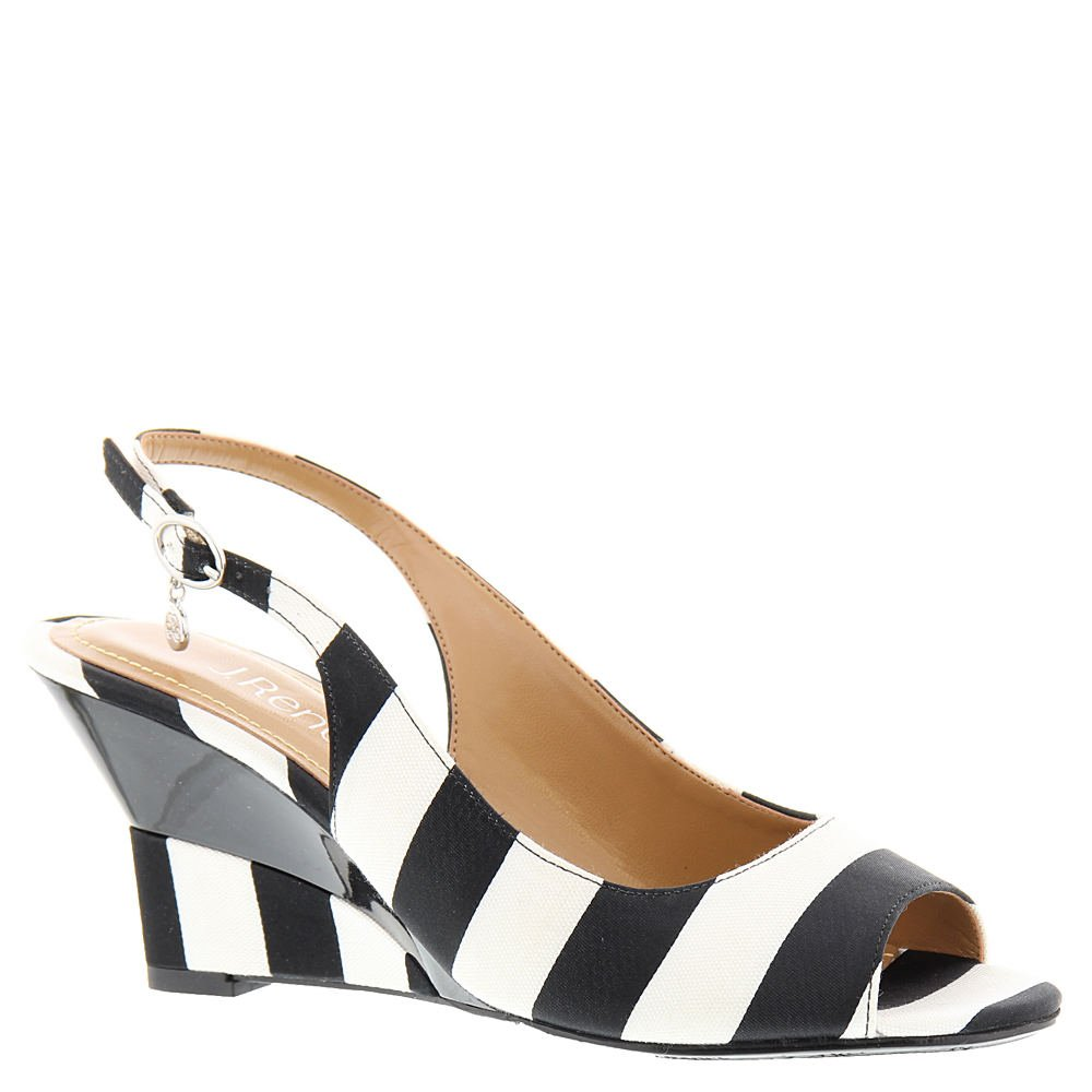 J.Renee Women's Sailaway Wedge Pump, Black/White, 8.5 W US