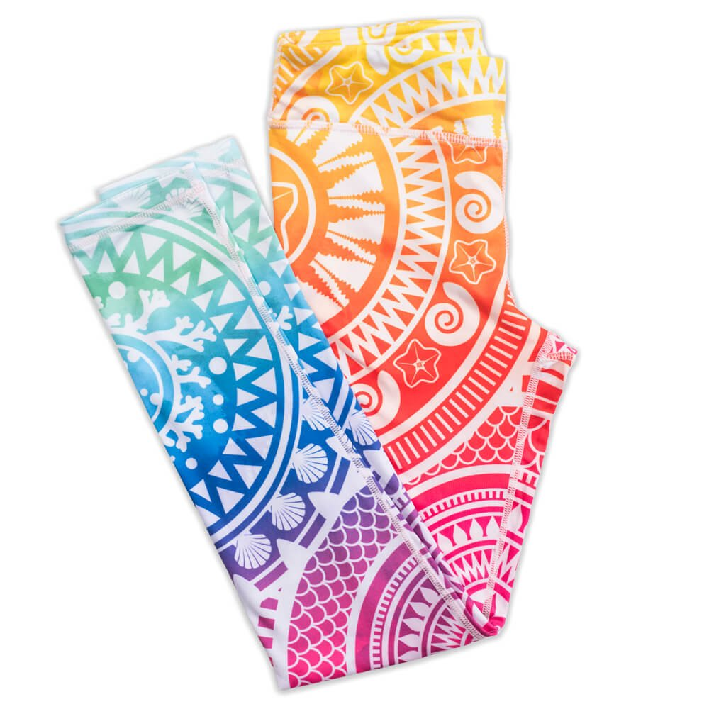 Aztec Sun Fin Fun Girls and Kids Mermaid Athletic Leggings for Running and Swimming X-Small