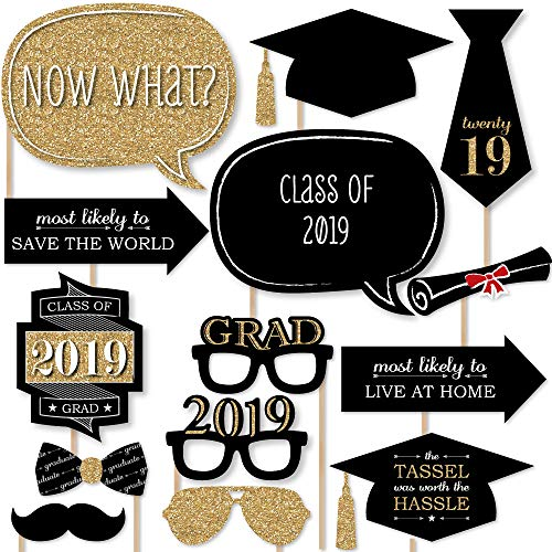 Big Dot of Happiness Graduation Party - Gold - 2019 Grad Photo Booth Props Kit - 20 Count -