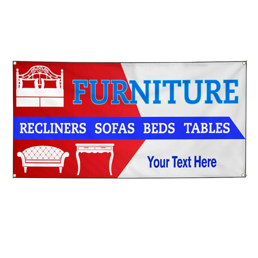 Custom Industrial Vinyl Banner Multiple Sizes Furniture Recliners Sofas Beds Tables Personalized Text Retail Outdoor Weatherproof Yard Signs Sky Blue 10 Grommets 60x120Inches