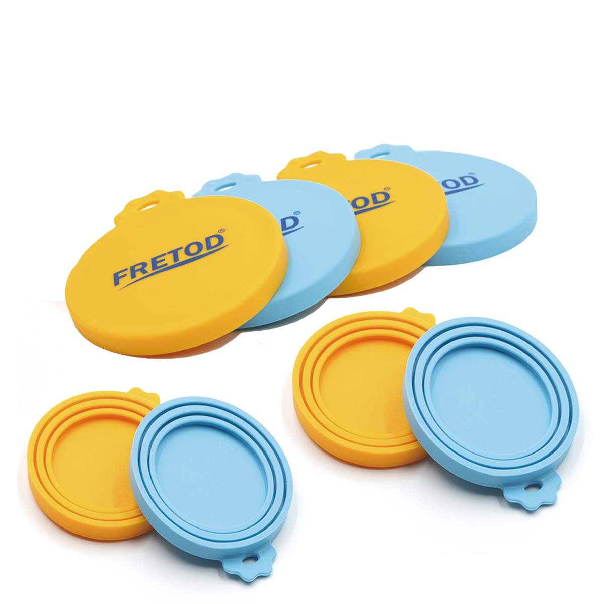 Silicone Can Lids - 4 Pack Can Cover for Cat Dog Can Food - One Size Fits All Standard Size Can Top FRETOD