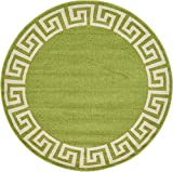 A2Z Rug Modern Contemporary Area Rug Geometric Light Green 6′ FT Round FT Santorini Collection Rugs – rugs for living room – rugs for dining room & bedroom – Floor Carpet