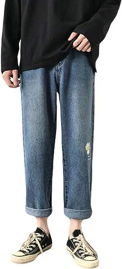 Alppvデニムパンツ メンズ 夏 ゆったり メンズ 九分丈パンツ ストレート プリント ワイドポケット コットン シンプル ワイドパンツ ファッション かっこいい 韓国風パンツ 通勤 通学