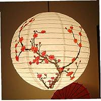 35 Cm Rojo Blooming Flor del Ciruelo Flores Colgantes De Papel Japonés Chino Lámparas Linterna De Fiesta De Navidad…