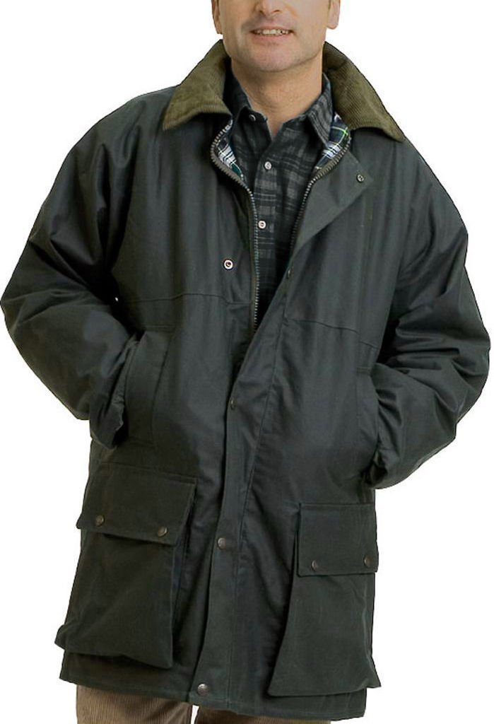 Mens British Padded Country Wax Winter Rain Jacket 3XL Olive