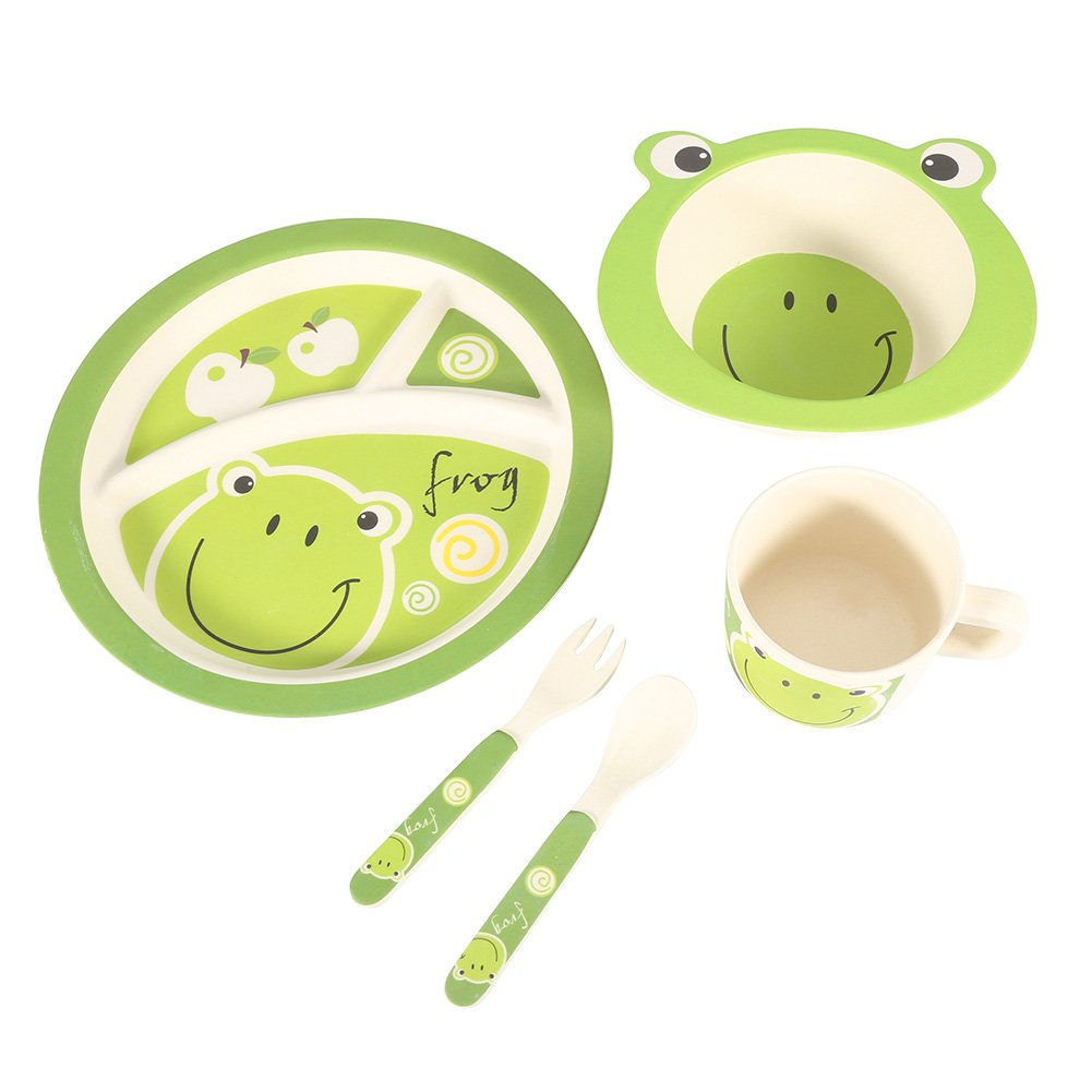 Fdit 5Pcs Bamboo Baby Learning Tableware Set Fiber Baby Plate Bowl Cup Forks Spoon Food Safe Children Feeding Tableware (Frog)