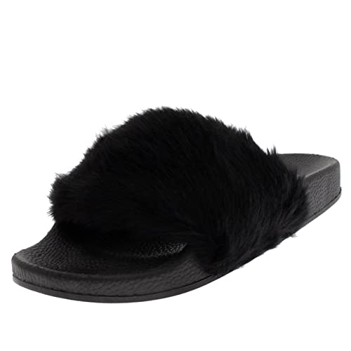 0d78ad1f5bb3 Viva Womens Flat EVA Faux Fur Single Strap Fashion Fluffy Open Toe Sandals  - Black -