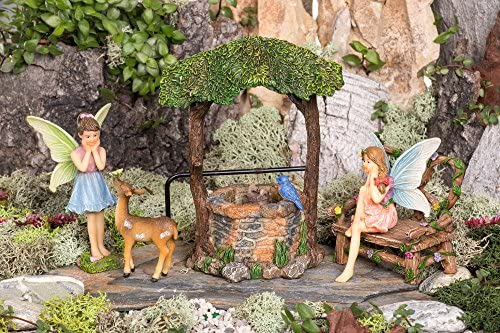 Miniature Hand Painted Figurine Statues with Accessories Set of 5pcs for Your House or Lawn Decor Joykick Fairy Garden Wishing Well Kit