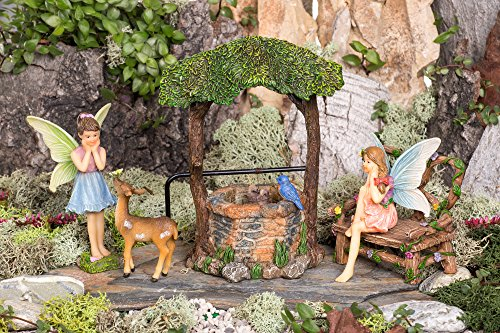 Joykick Fairy Garden Wishing Well Kit - Miniature Hand Painted Figurine Statues with Accessories - Set of 5pcs for Your House or Lawn Decor by Joykick (Image #1)