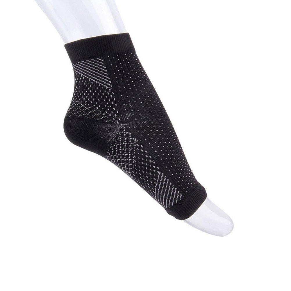 Alamana 1 Pc Unisex Feet Heel Ankle Socks Anti Fatigue Compression Varicose Sports Foot Sleeve Black M