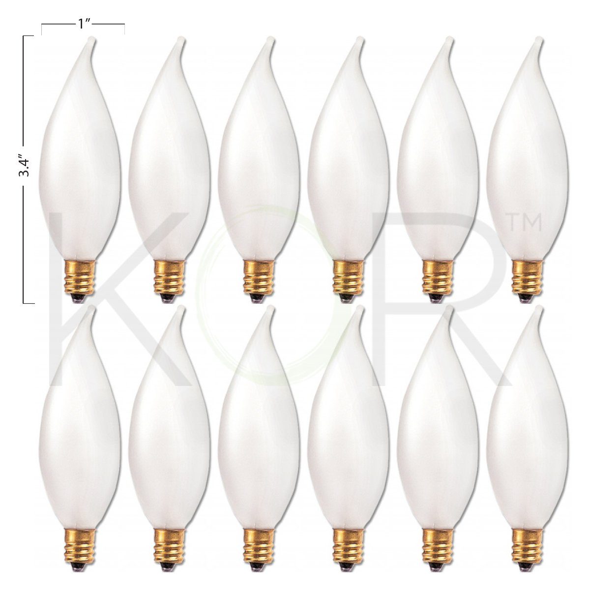 12 Pack 25 Watt Frosted Flame Shaped Incandescent Light Bulb Candelabra Base Bulbs Com