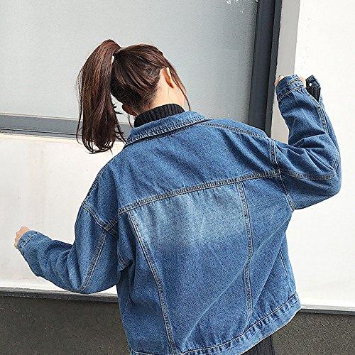 Un Tops Azul Mujeres Larga Jacket Pecho De Chaqueta Corto Manga Jacket Chaquetas Solo Mezclilla Vaquera Abrigo 8qA8ar6