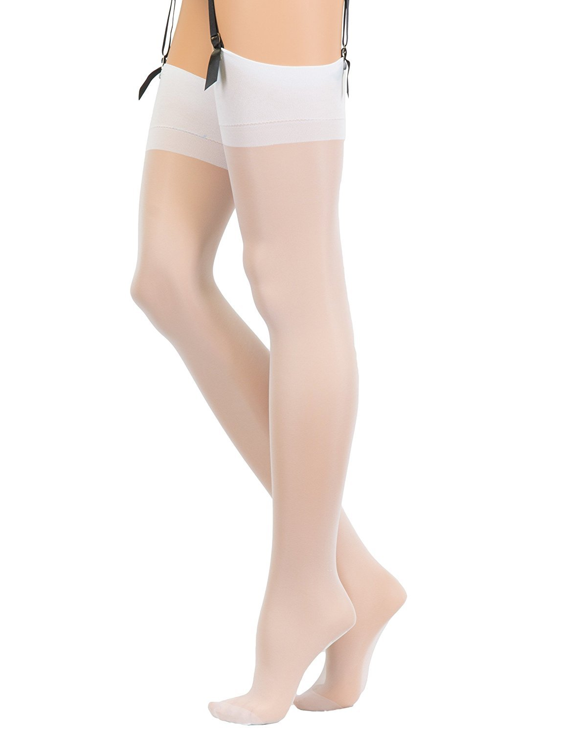 Veneziana Thigh High Stockings for Garter and Suspender Belts Sheer (White, X-Large)