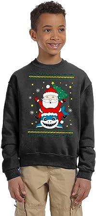 KIDS Santa Shark Ugly Christmas Sweater Youth Holiday Sweater Funny Christmas Sweater
