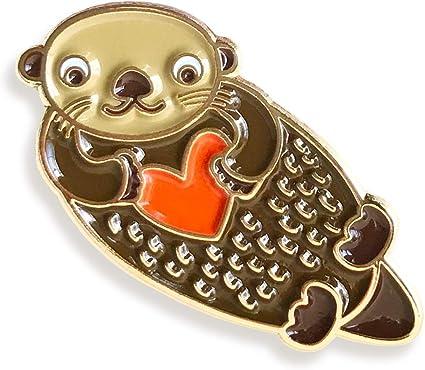 Night Owl Paper Goods Otter Love Enamel Pin Gold