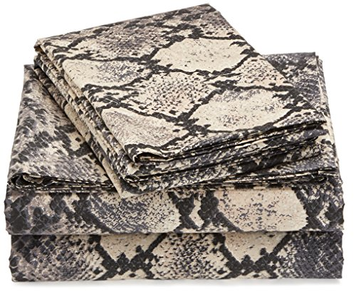 Tribeca Living 300 Thread Count Kenya Snake Printed Egyptian Cotton Deep Pocket Sheet, Twin
