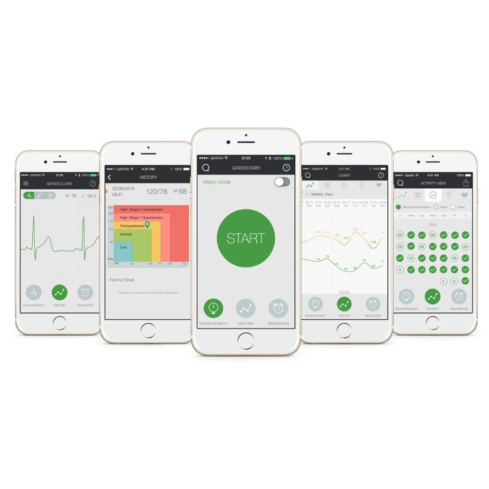 QardioArm Wireless Blood Pressure Monitor: Compact & Portable Digital Upper Arm Cuff - Bluetooth Compatible for Apple & Android Devices, Arctic White