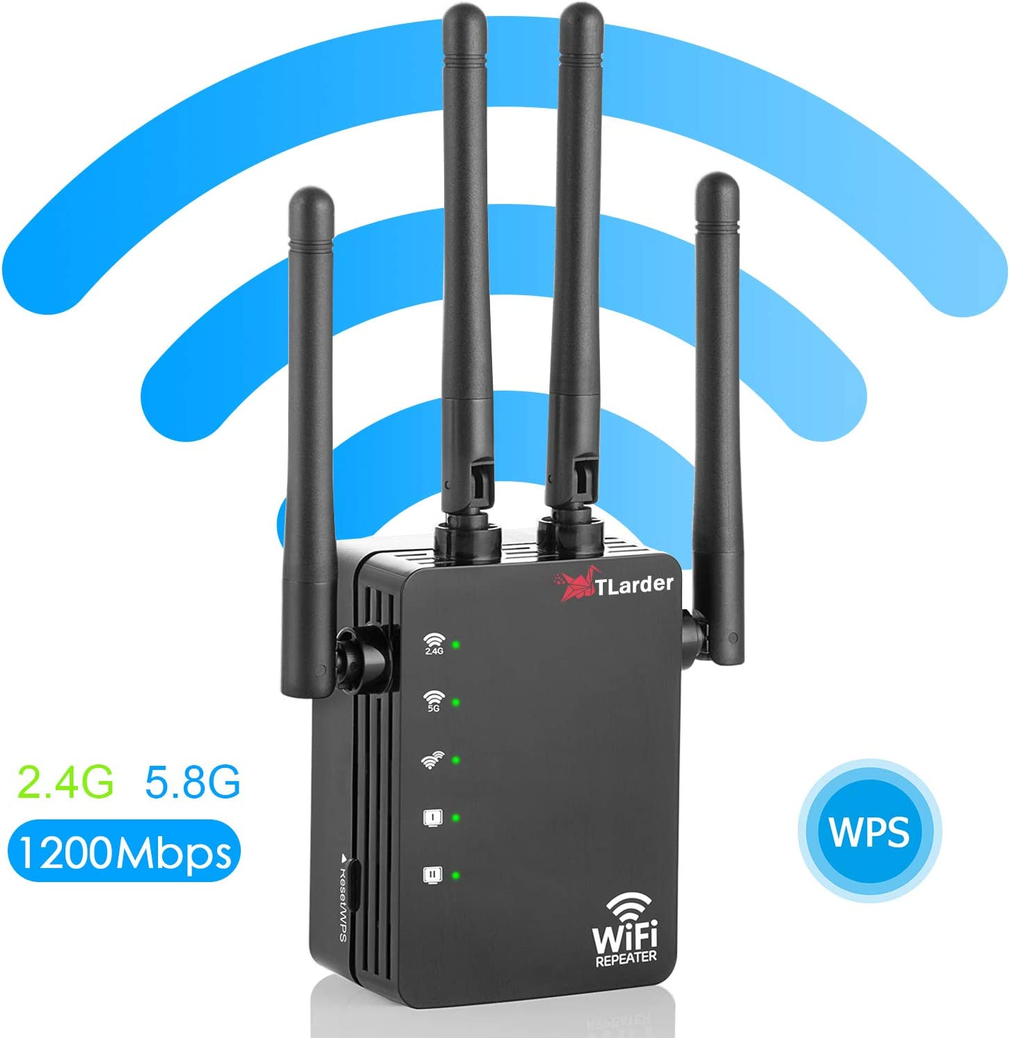 WiFi Range Extender Repeater,1200Mbps Router Wireless WiFi Signal Booster,2.4 and 5GHz WiFi Extender Signal Amplifier with AP/Router/Repeater Mode,Access Point   Easy Set-Up   2020 Upgraded (Black)