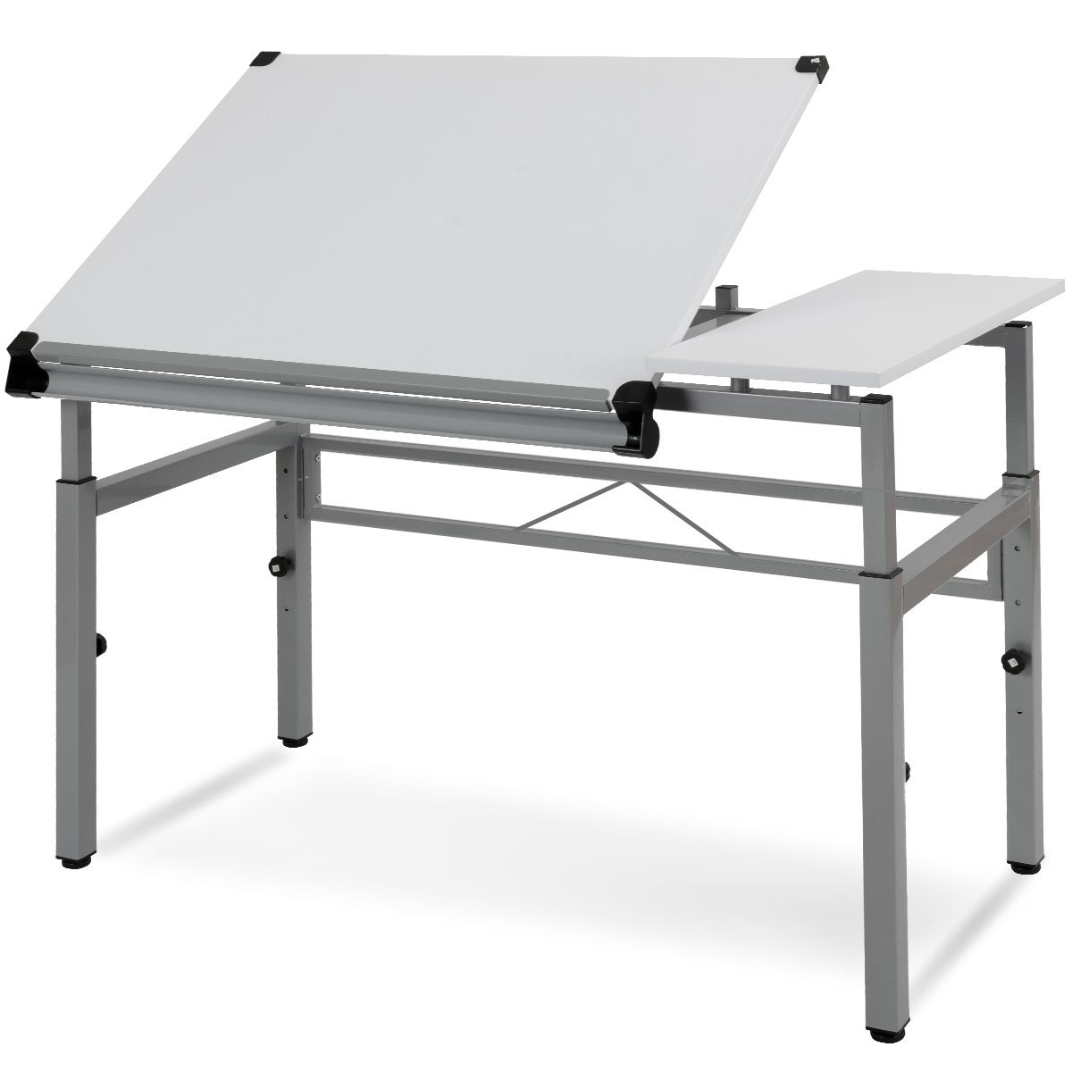 Tangkula Adjustable Drafting Table Art & Craft Drawing Desk Folding with Side Shelf White