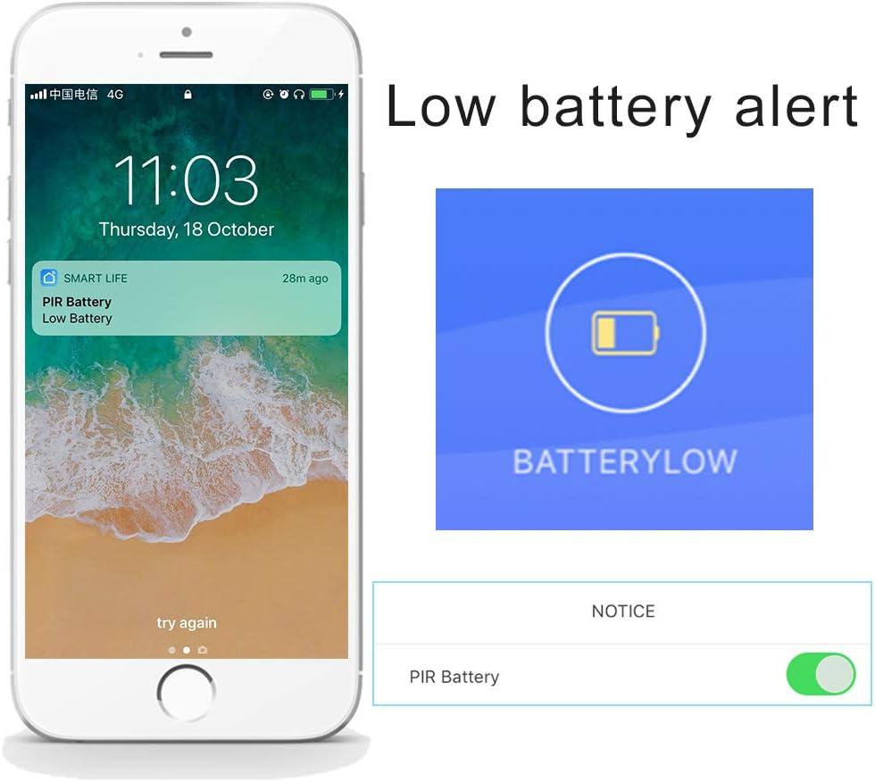 Fuente de alimentaci/ón USB aixi-SHS Wi-Fi PIR Sensor de Movimiento Activa alertas Detector de Movimiento TuyaSmart//Smart Life App Control