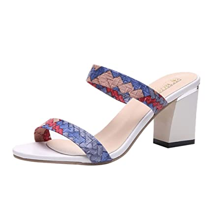 0c1e9a25378 Amazon.com: SUKEQ Patchwork Sandals, Women's Heeled Two Band Slide ...