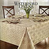Waterford Linens Cristina Silver/Gold Tablecloth, 70-by-144 Inch Oblong Rectangular
