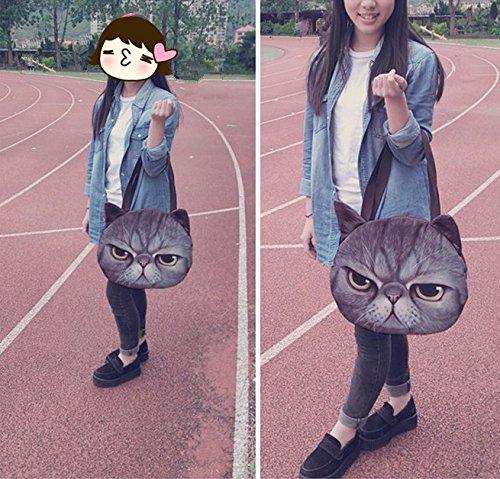 SwirlColor Nuovo stile 3D Animal testa del gatto del sacchetto di spalla delle donne del sacchetto