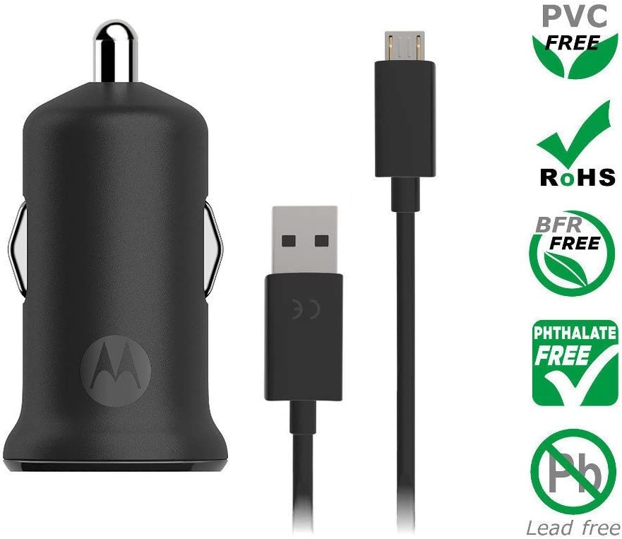 NOT G6 or G6 Plus Retail Box Motorola TurboPower 15 QC2.0 USB-A car charger with SKN6461A micro-USB cable for Moto G5 Plus//G5S//G5S Plus//G6 Play micro usb devices