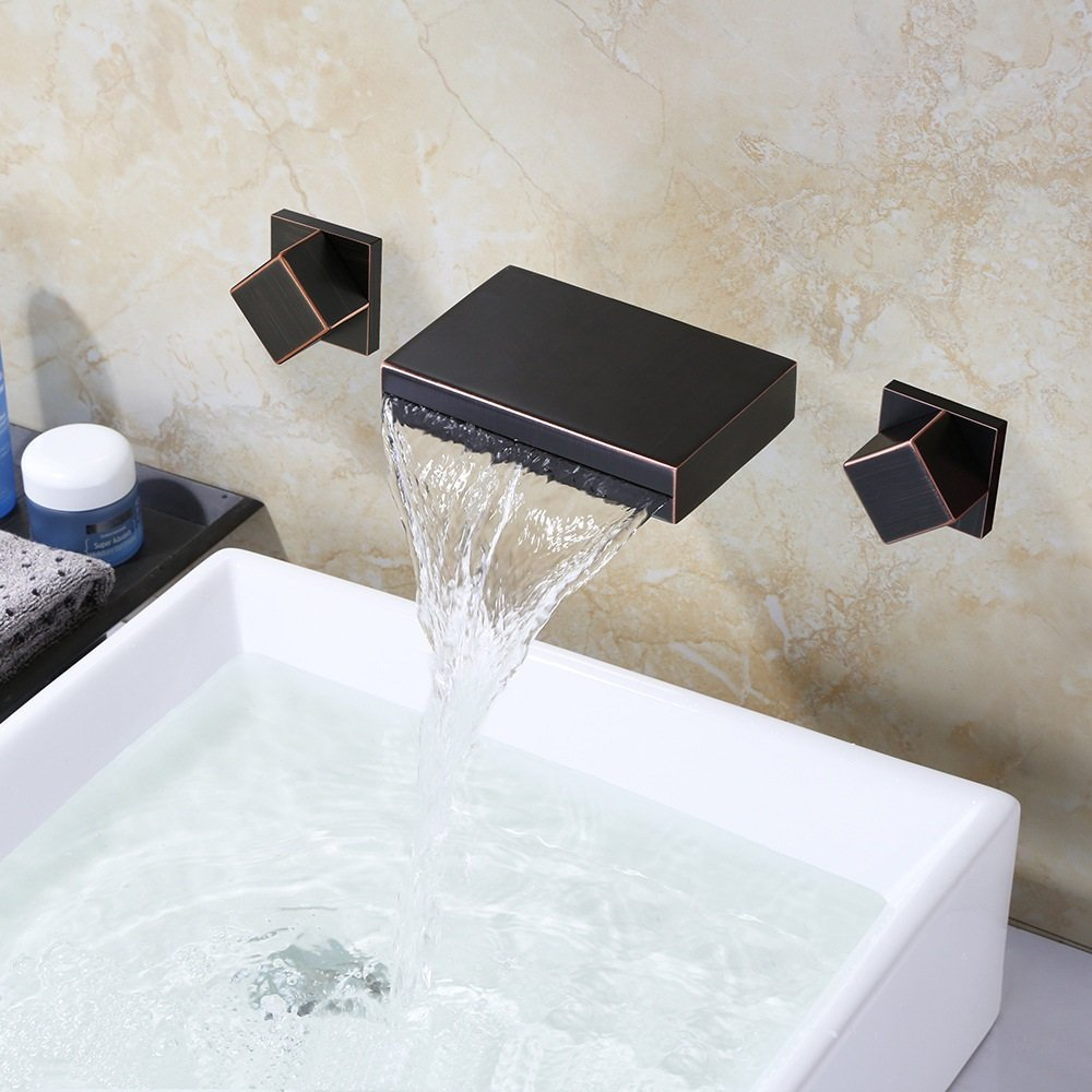 ADMKK Voll Kühlen und Erwärmen der Kupferdoppelsteuerung Grünckter Waschtischarmatur in die Wand Becken Waschbecken Armaturen