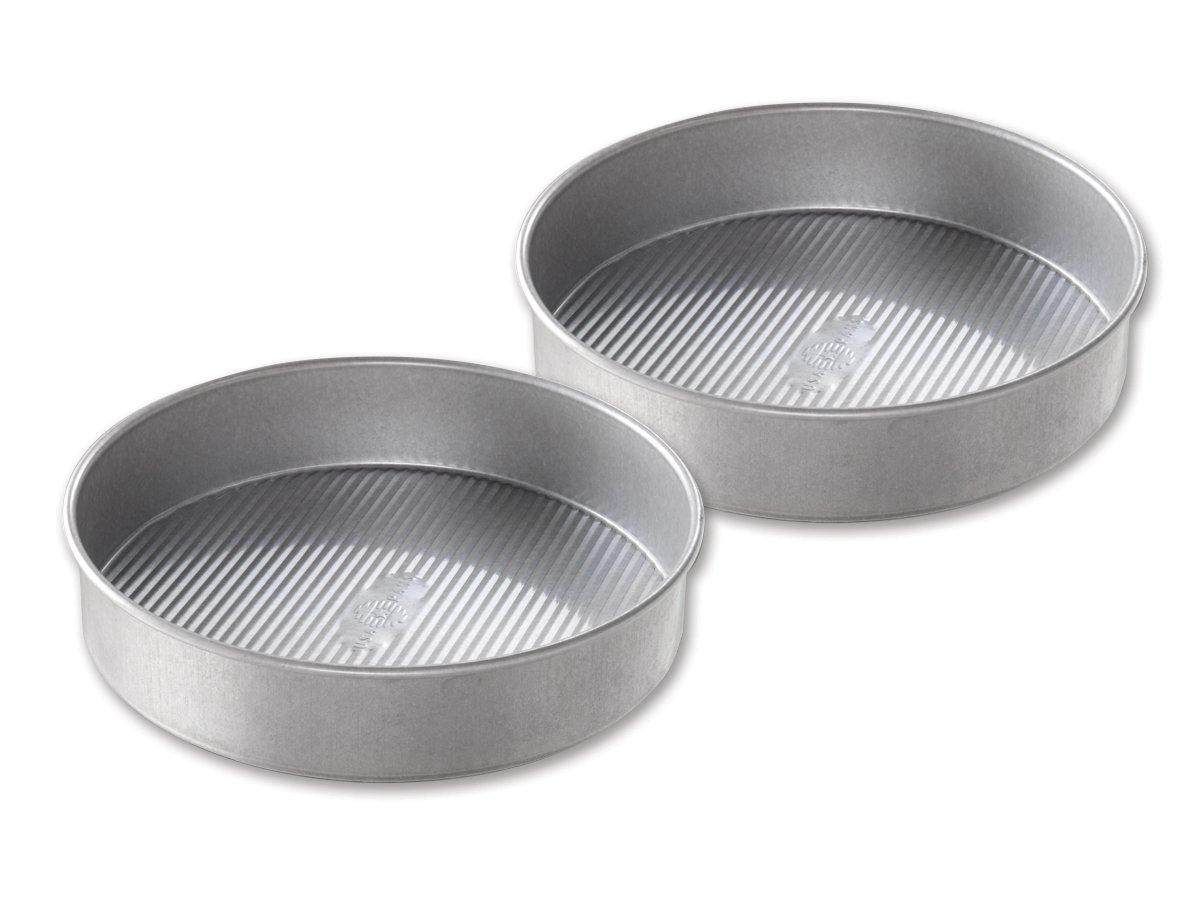 USA Pan Bakeware Round Cake Pan, 9 inch, Nonstick & Quick Release Coating, Made in the USA from Aluminized Steel, Set of 2 by USA Pan