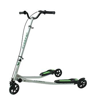 Kidzmotion Swagger 3 ruedas scooter de oscilación del reductor de velocidad vagabundo grande (10-13 años) marco blanco / verde