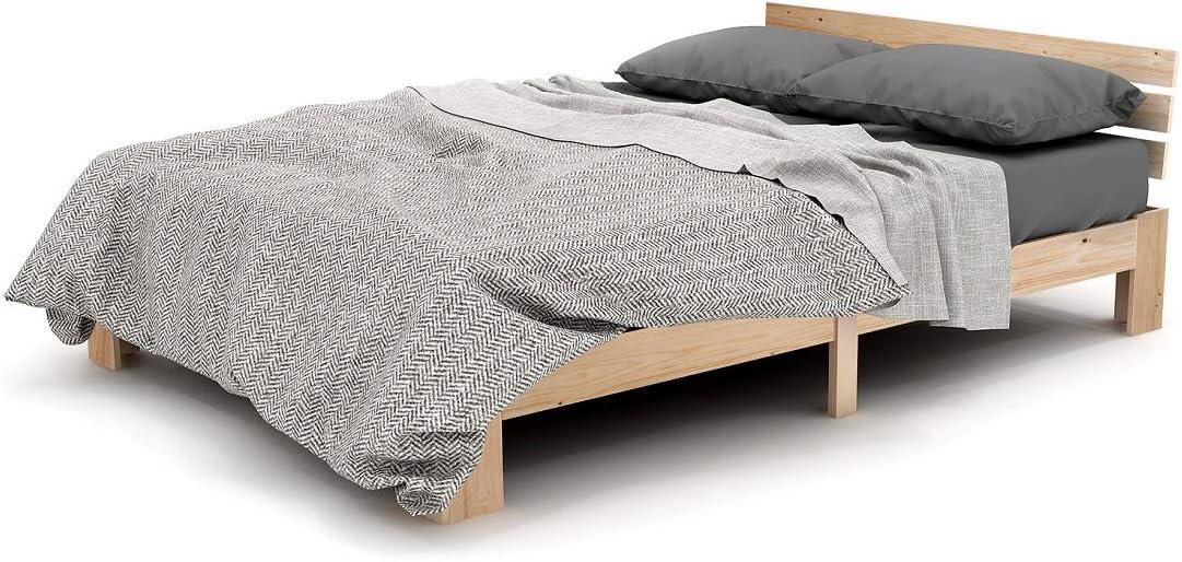 Modern Luxe - Cama doble de madera con somier (200 x 140 ...