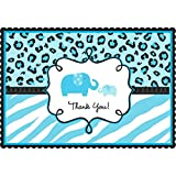 "Blue ""Thank you"" Sweet Safari Postcards 