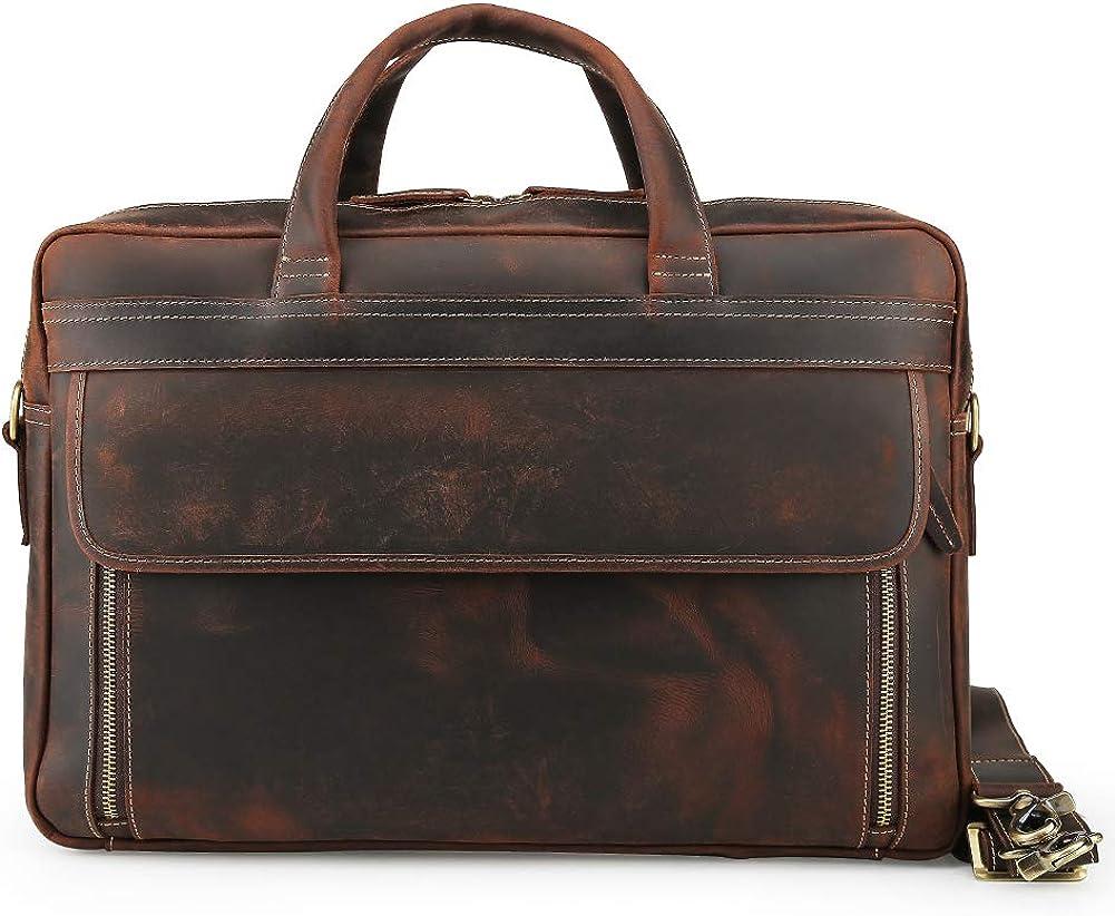 Men's Vintage Leather Casual Case Slim Multi-purpose Travel Business 17 Inch Laptop Briefcase Shoulder Bag Tote Handbag Brown