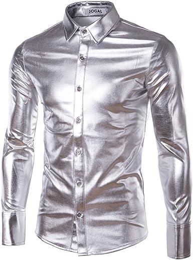 Rcdxing Estilo simple Camisa de manga larga plateada fina de Silver Glossy para el hombre: Amazon.es: Ropa y accesorios