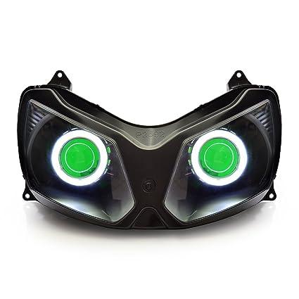 Amazon.com: KT LED Angel Eye Headlight Assembly for Kawasaki ...
