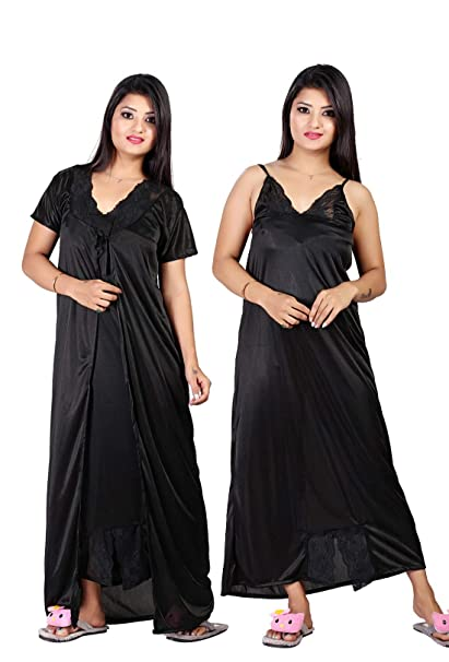 fd027c15db TRUNDZ Fancy Black Color Nighty with Robe: Amazon.in: Clothing & Accessories