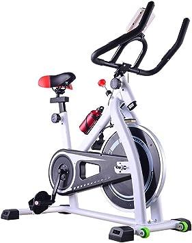 HLEZ Bicicleta estática Profesional, Pantalla LCD y Resistencia Variable Bicicleta Spinning Indoor con Volante Regulable,Blanco: Amazon.es: Deportes y aire libre